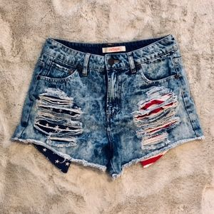 refuge Distressed American Flag Shorts